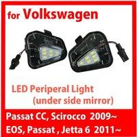 for VW Passat CC Scirocco 2009 Jetta Mk6 EOS 2011 LED Peripheral Under side Mirror Light
