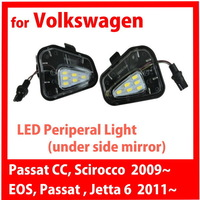 for VW Passat CC Scirocco 2009 Jetta Mk6 EOS 2011 LED Peripheral Under side Mirror Light