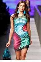 Designer Geometric Flower Print Mini Dress LC21615
