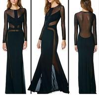 Black Mesh Cutout Ruffled Evening Dress  LC6553