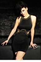 Side Cut out Stud Decor Bodycon Mini Dress LC21604