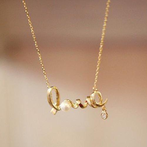New arrival elegant fashion Romance Metal alphabet rhinestone love pendant necklace Statement jewelry gift girlfriend 2014