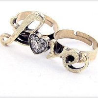 Fashion luxury retro bicyclic double heart-shaped love ring wholesale free shipping  Retro rhinestone rings jewelry women PT32