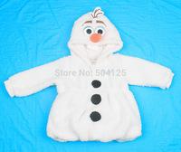 One Piece 2014 Anime Movie Frozen Snow Olaf costume 2-7 Age Snowman Berber Fleece Winter Very Warm Coat  Hoody Jacket