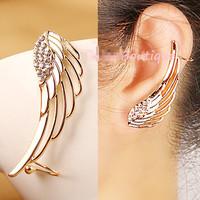 Brand design women's gold plated wing earring clip elegant style rhinestone clip earring ear cuff female