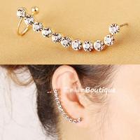 Brand design women's gold plated pierced earring clip elegant style full rhinestone clip earring ear cuff female