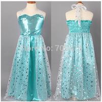 1 set free shipping Girl  Long Lace Halter Tube Dress Snow Paillette Ankle-Length Dress Frozen Princess Mesh Dress