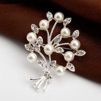 Free Shipping Women Christmas Gift Fashion Alloy Brooch Silver Crystal Jewelry Rhinestone Brooch Women Brooch For WeddingYB-022