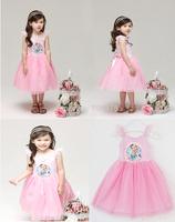 1 set free shipping Girl Summer Sunderss Lace Tutu Dress Frozen Princess Elsa Mesh ball Gown Layered Dress