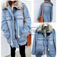 New 2014 Winter Fall Thicken Women Parkas Fashion Blue Zipper Faux Fur Collar Parkas Women Jackets Casual Women Coats