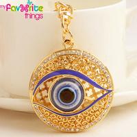 Hot Unique Hollow Evil Eye Key Chain Ring Fashion Crystal Trinkets Metal Keychain for Women Bag Purse Charm Pendant Accessories