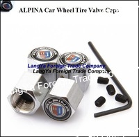 4caps automobile wheel anti-theft tire tyre valve cap cover for alpina car emblem badge logo airdust covers caps free shipping