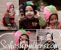 Retail Beanie Toddler Knitted Winter Beanies Cartoon Hats Baby Earflap WInter Hat Children Bear Hats Free Shipping MZD-061