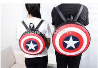 Fashion 2014 Euramerican Popular Avengers Captain America Shield Student Backpack Book school Bag Gift