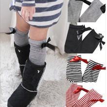 Free Shipping One Pair New Fashion Lovely Kids Girls Princess Bowknot Knee High Long Socks(China (Mainland))