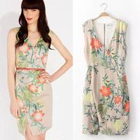 #YZX862 Free Shipping Top Quality 2014 New Women Sleeveless Dresses Ladies Print Spring Summer Autumn Dress