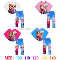 New Frozen Summer clothing set/baby girls Elsa Anna Batwing Sleeve T-shirt+ pants/ kids princess top tees+ leggings suits