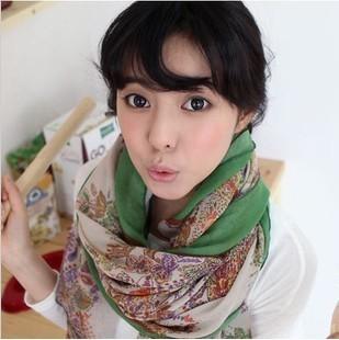 Vintage Floral Scarf New Winter lady Paris yarn scarves hit color retro Scarf Shawl dual-purpose 87g(China (Mainland))