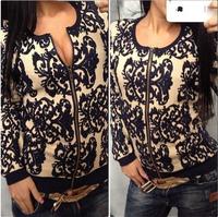 Hot sale 2014 women's sweater blazer cardigan blue black Embroidery slim long-sleeve sweaters women coat with zipper