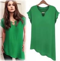 2014 new casual chiffon short sleeve irregular hum blouse & shirts women tops Q119
