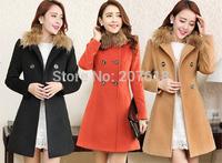 Korean Women Fur Collar Wool Coats Lady Elegant Slim Tunic Long Coat Winter Outerwear Woolen Overcoat