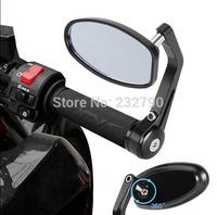 Adjustable Full 360 degrees Universal Motorcycle bike bar end Rear rearview mirrors Blue Anti-Glare Handlebar Side #3759