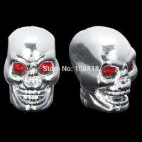 Unique 2x Chrome Skull Tire Valve Cap Cover Air Stem Kit For Motorcycle Cruier Chopper Softail Sportster XL Dyna V-rod