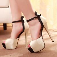 women's high heels platform sandals sexy sandals shoes open toe toe 14cm mixed color sy-679