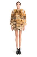 2014 Winter Fashion Ladies'  Genuine Fox Fur Coat Jacket  Popular Women Fur Outerwear Coats Female OvercoatQD70723
