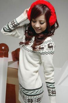 Горячая! олень шаблоны длинный свитер платье женщин свободного покроя осень кардиган с длинным рукавом трикотажные зимние свитера женщин рождество одежда