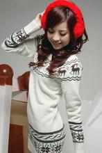 Caliente! Ciervos patrones suéter largo vestido casual para mujer chaqueta de otoño punto de manga larga invierno mujeres suéteres navidad ropa(China (Mainland))