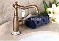 Hot Sale Wholesale And Retail Promotion Swivel Spout Deck Mounted Antique Brass Bathroom Basin Faucet Ceramic Handle Tap