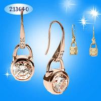 Hot Selling Kors Brand Designer 2014 Fashion Luxury Zircon 18K Gold Plated Crystal Rhinestone lock Earrings For Women Ladies