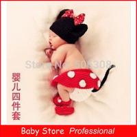 4Pcs/Set 2014 Newborn Costume Set Photography Props Boys Girls Baby Handmade Knitting Hats Crochet Knitting Minnie Caps