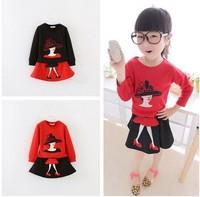 Wholesale Spring Autumn Children Modern Girl Pattern Long Sleeve T-shirts+ Skirts Suit Kids Clothing Free Shipping 5set/lot