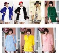 Hot! Spring Autumn New 2014 Fashion Elegant Long real fur coats for women Rabbit Fur Coat Jacket fur jackets Free shipping B2303