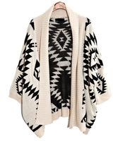 Free Shipping 2014 New Style Winter geometric pattern shawl irregular knit cardigan Sweater Coat #309291