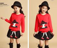 sz110~160 Spring Autumn girls hoodies+skirt suit Child sweatshirts kids pullovers children clothing set 30p red black grey