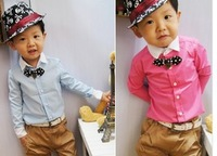 Top On Top  Retail new 2014 spring kids long-sleeve shirts boys bow tie Solid blouse children clothes LFR09180004M