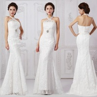 2014 New Halter dress Long section Trumpet Formal dress of Lace Mermaid Evening dress Free shipping Plus size
