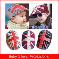 2014 New Arrival Autumn Fashion Baby Kids Sun Baby Hat Child Boys Girls British flag Beret Cap Beanie Hat