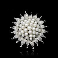 Free shipping  3pcs  Beautiful unique Clear Rhinestone Crystal Small Flower Rhinestone pearl Brooch Bouquet for wedding