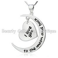925 Sterling Silver I Love You To The Moon and Back Silver Heart Pendant Necklace Women Gift Statement Necklace Jewelry 1Pcs