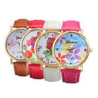 4 Colors for Choice Vintage Pringting Rose Flower Watch Women Watch Quartz Wristwatch PU Leather Strap