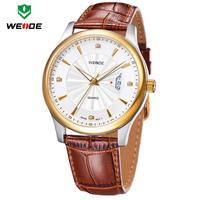 Top Brand WEIDE Luxury Quartz Watch Gold Genuine Leather Strap Men Dress Watches Casual Rhinestone Wristwatches 3 Colors