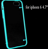 New 2014 Brand For iphone6 phone case Glow Luminous Case for iPhone 6 6G Transparent PC Cover Mobile Phone Bags Cases
