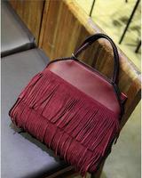 new 2014 autumn and winter Europe and America brand handbag vintage geunine leather tassel women's handbag