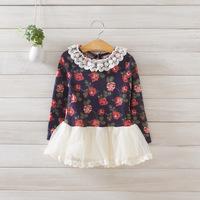2014 New autumn,girls floral dress,children princess dress,long sleeve,lace collar,5 pcs/lot,wholesale,1822