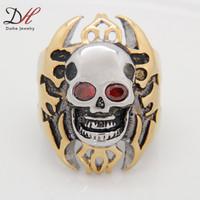 Unique  Customize Jewelry Biker Gold Big Helmet Skull Stainless Steel Ring Cool Cross Ruby Eyed Men Steel Jewelry, RN2817