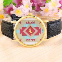 5 Colors Irregular Figure Aztec Geneva Tribal Print PU Leather Watch Women Analog Quartz Wrist Watches